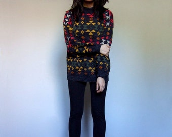 80s Aztec Oversize Knit Sweater Fall Fashion Navajo Southwestern Boho Top Cosy Sweater - Small Medium Large S M L