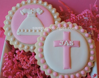 Communion Dress and Personalized Cross Decorated Sugar Cookies