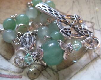 Handmade  CATHOLIC Chaplet CELTIC Valuable All STERLING And Aventurine Gemstone Traditionally Linked