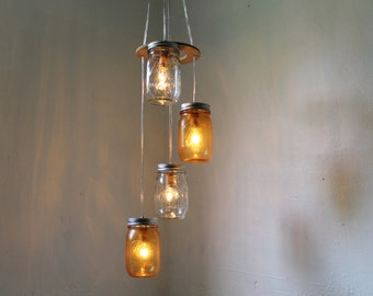 Orange Swirl Mason Jar Chandelier - Upcycled Hanging Lighting Fixture Featuring 4 Spiraling Jars - BootsNGus Modern Country Lamp Design