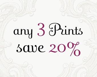 Custom Print Set - Choose Three Photographs and Save 20%, Home Decor, Large Wall Art