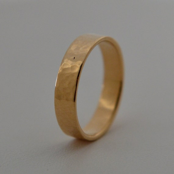 hammered 14k yellow gold wedding band for him handmade in