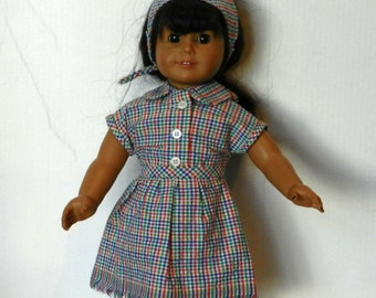 BK Multicolor Plaid Seersucker Blouse, Skirt and Scarf Set - 18 Inch Doll Clothes fits American Girl