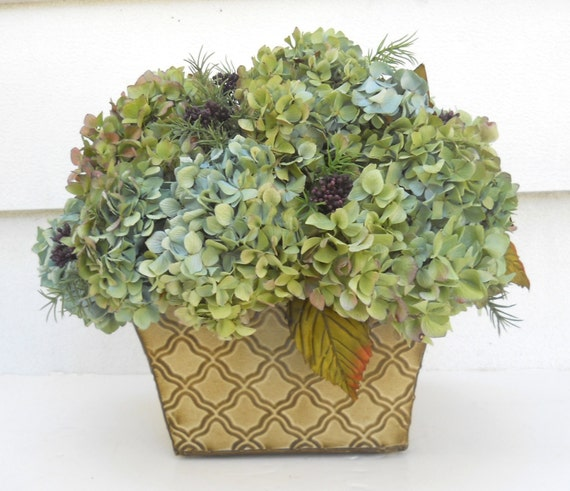 Dried Hydrangea Flower Arrangement Table Decor