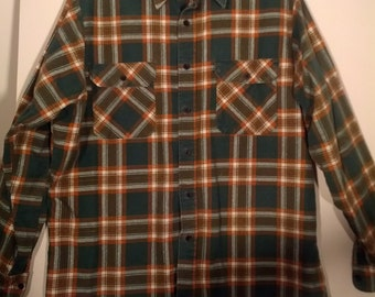 Sears menswear plaid shirt tartan punk shirt L XL new wave 44 46  grunge plaid tartan boho