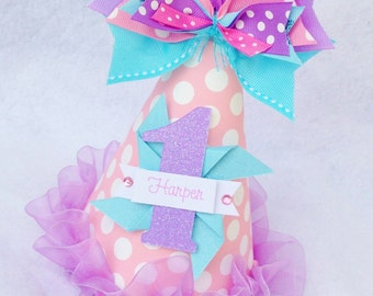 Pinwheels & Polka Dots Birthday Party Hat in Pink, Aqua and Light Purple