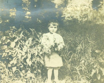 Little Boy Holding A Wild Flower Bouquet Picked For Mom Antique Black and White Photo Photograph