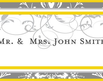 Wedding Placecards 50 Elegant Damask Scroll Placecards for Rehearsal Dinners, Receptions & Parties