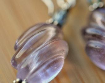 Lovely Lavendar Carved Fluorite Earrings