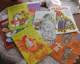 7 vintage cards variety