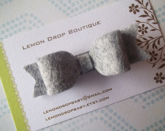 Felt Hair Bow Clip-Felt Bow Hair Clip-Gray-No Slip Grip-FREE SHIPPING on 25 Dollar Orders!