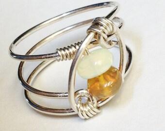 Opal Ring   Amber Opal Ring    Amber and White Opal Ring   Opal Jewelry   Ethiopian Opal