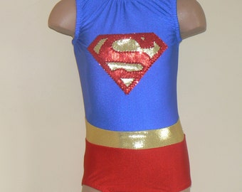 Gymnastics Leotard. Dance Leotard. Dancewear. Performance  Costume. Super-girl  Inspired Toddlers Girls Leotard SIZES 2T - Girls 10