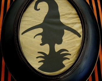 Primitive Halloween Witch Framed Silhouette Picture Grungy Wall Art Frame Victorian