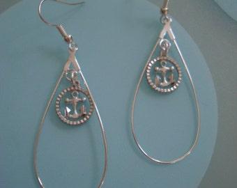 Ahoy Thar!  Silver Pewter Charm Earring Set in Silver Metal Teardrop Setting