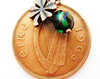 1965 IRISH Coin CHARM Necklace- IRISH Penny Ireland Necklace
