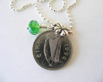 1996 IRISH Coin Charm Necklace- SILVER Irish 10 Pence