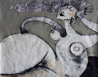 GIGANTES No. 13 - Original Acrylic and Charcoal Artwork on Paper