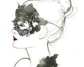 Masquerade, print from original watercolor and pen fashion illustration by Jessica Durrant