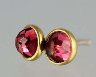 Garnet Studs - Rose Cut Garnet 18 KT Gold Studs - Rose Cut Garnet Gold Studs - Rhodolite Garnet Yellow Gold Post Earrings - Pink Garnet