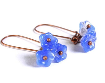 Handmade coral royal blue clear Czech bell flower floral dangle earrings (691) - Flat rate shipping