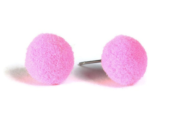 Sale Clearance 20% OFF - Pink pompom pom pom hypoallergenic surgical steel post earrings (661)