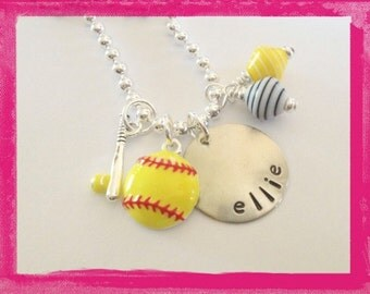 Hand Stamped Personalized SOFTBALL Charm Necklace - Custom Necklace for Girls #S53