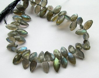 Flashy Labradorite Faceted Marquise Briolette Gemstone Bead Strand (6m14)