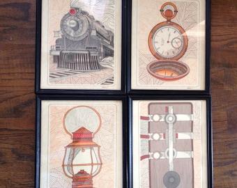 Set of 4 train prints by Whitson