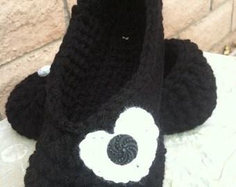 Women's Crochet Black Slippers   Black Crochet Slippers   Hand Crochet Slippers   House Shoes   Crochet Booties   Slippers