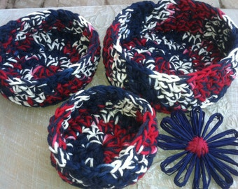 Nesting Bowls, Crochet bowls, Storage, Red White and Blue