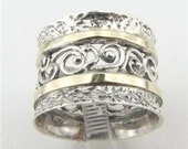 Sterling silver integrated 9K yellow gold filigree band size 8.5 (s r1615