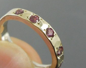 New Israel Handmade 9k yellow Gold 925 sterling Silver Pink Tourmaline Ring any sz (I r308)
