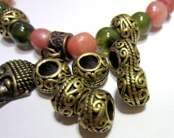 16 Large hole beads antique bronze  beads 10.5mm x 7mm boho chic jewerly supply tribal bohemiam 6980-ab Z6