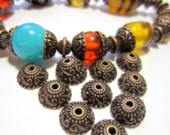 30 Antique copper bead caps ethnic jewelry spacer beads necklace making supplies 0025-V4