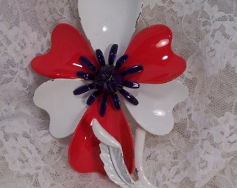 Vintage 1960's Enamel Flower Pin, Red, White and Blue Flower, Patriotic Symbol, Estate Jewelry, Americana Jewelry, Statement Piece