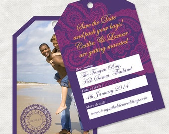 destination wedding save the date - printable - exotic travel tropical beach wedding, photo card luggage tag or postcard style, asian ornate