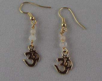 Moonstone earrings with OM charm