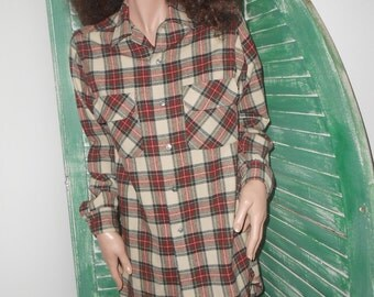 Red/Grey Plaid 1950's Long Wool Shirt by Sears - Size Men's S