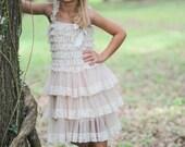 Rustic Flower Girl Dress- Flower Girl Dresses- Cream dress- Lace dress- Rustic Girls Dress- Baby Lace Dress- Junior Bridesmaid