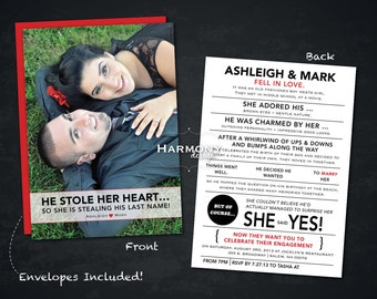 "5"" x 7"" Engagement Announcements - Set of 12, Double-Sided printing with picture and wording, envelopes included"