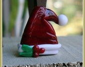 Santa Hat with Holly Christmas Holiday Lampwork Bead