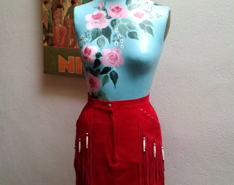 Red Cowgirl/////vtg 80's Patricia Wolf Cherry Red Suede Beaded Fringe Boho Wiggle Pin Up Glam Pencil Skirt///sz0-2