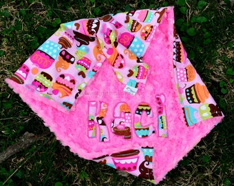 Cupcakes/Sweet Treats Baby Girl Blanket- Sorbet Pink MInky Swirl-Personalized/Applique-Toddler,Stroller,Crib Sizes