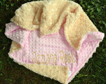Baby Blanket - Banana Minky Swirl-Baby Pink Minky-Personlized-Baby Girl-Minky Blanket