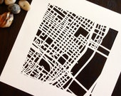 st. louis, the loop, minneapolis, linden hills, or detroit, hand cut map, 10x10