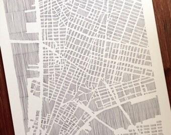 lower manhattan map, 11x14