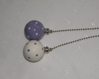 Set of Pottery Large Ball Ceiling Fan/Light  Pulls - Lilac and White Polka Dotted - Made in the USA