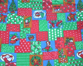 Vintage Christmas Fabric - Patchwork Print - 45 x 37