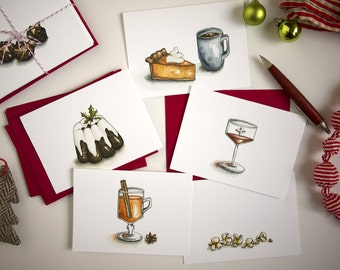 Holiday Cards for Food Lovers - Christmas Carol Holiday Cards - Set of 6
